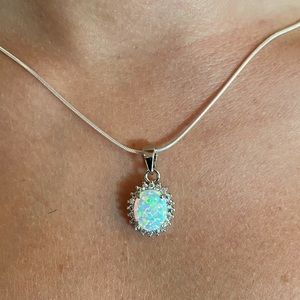 Sterling Silver Lad Created Opal and Cz Necklace